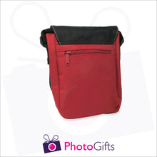 Load image into Gallery viewer, Back view of personalised mini reporter bag in red with your own choice of image on the front flap as produced by Photogifts.co.uk