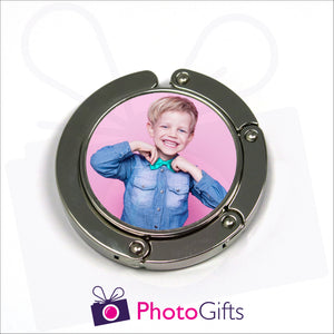 Bag hanger in round shape fully closed with your own choice of image in the centre as produced by Photogifts.co.uk