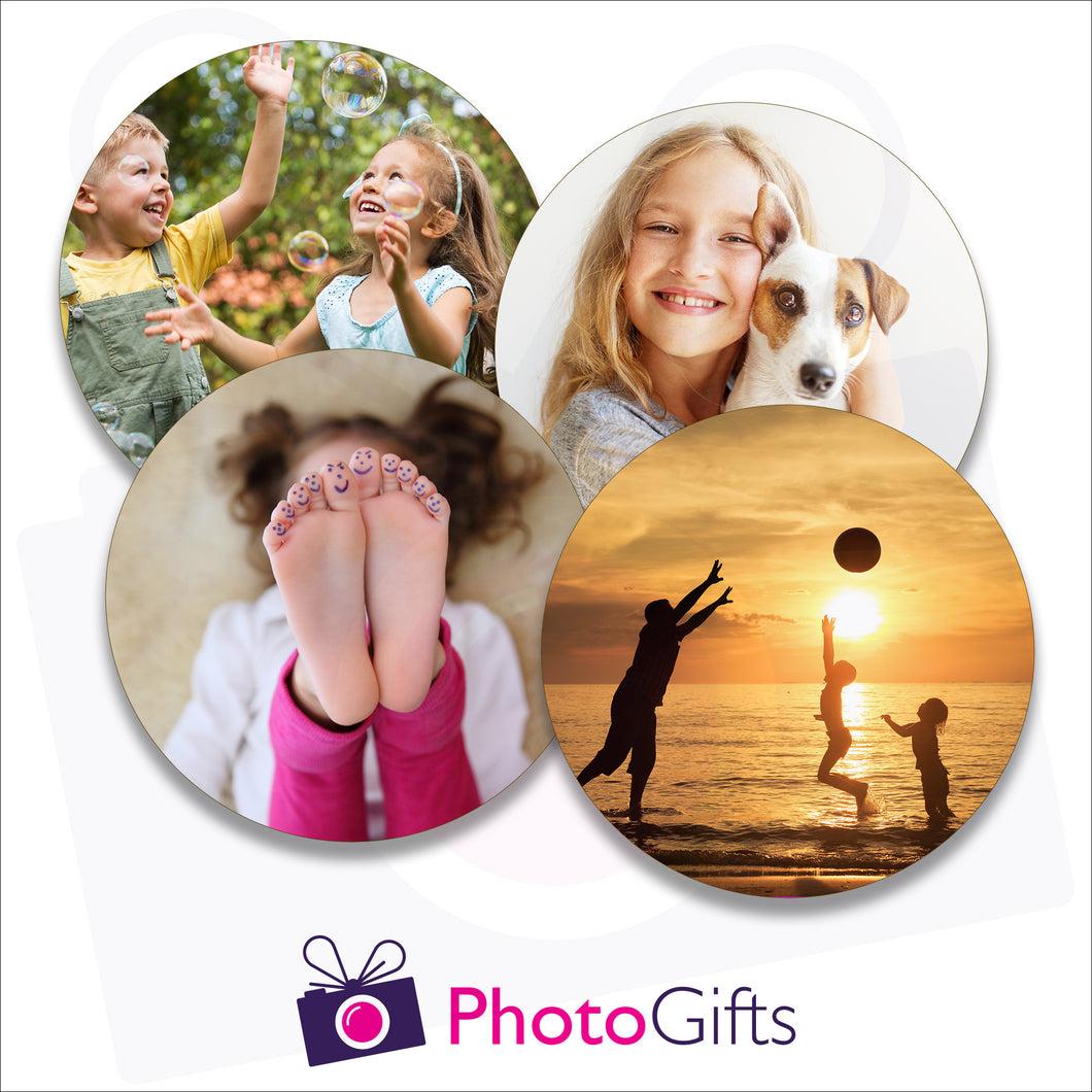 Four individually personalised cork backed drinks coasters with your own choice of image as produced by Photogifts.co.uk