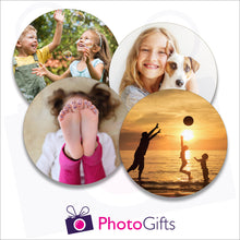 Load image into Gallery viewer, Four individually personalised hard board drinks coasters with your own choice of image as produced by Photogifts.co.uk