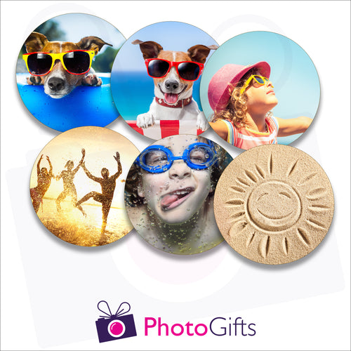 Six individually personalised hard board drinks coasters with your own choice of image as produced by Photogifts.co.uk