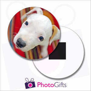Personalised round fridge magnet with your own choice of image on the magnet as produced by Photogifts.co.uk