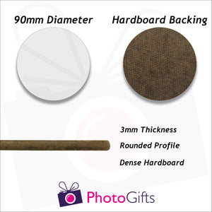 dimensions of round hard board coaster as produced by photogifts.co.uk