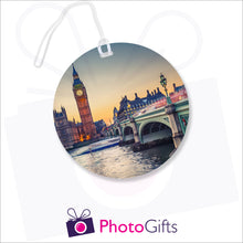 Load image into Gallery viewer, Personalised round luggage tag with your own choice of image as produced by Photogifts.co.uk
