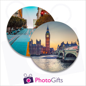 Two individually personalised placemats with your own choice of image as produced by Photogifts.co.uk