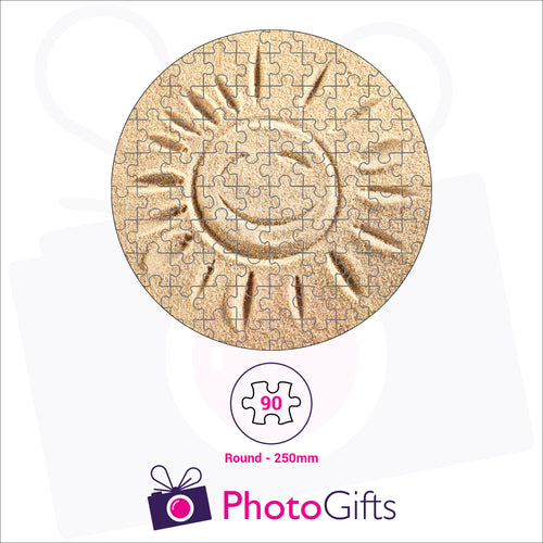 Personalised round shaped jigsaw with your own choice of image. Breaks down into 33 pieces . As produced by Photogifts.co.uk