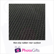 Load image into Gallery viewer, close up of rear of personalised rubber coaster as produced by Photogifts.co.uk