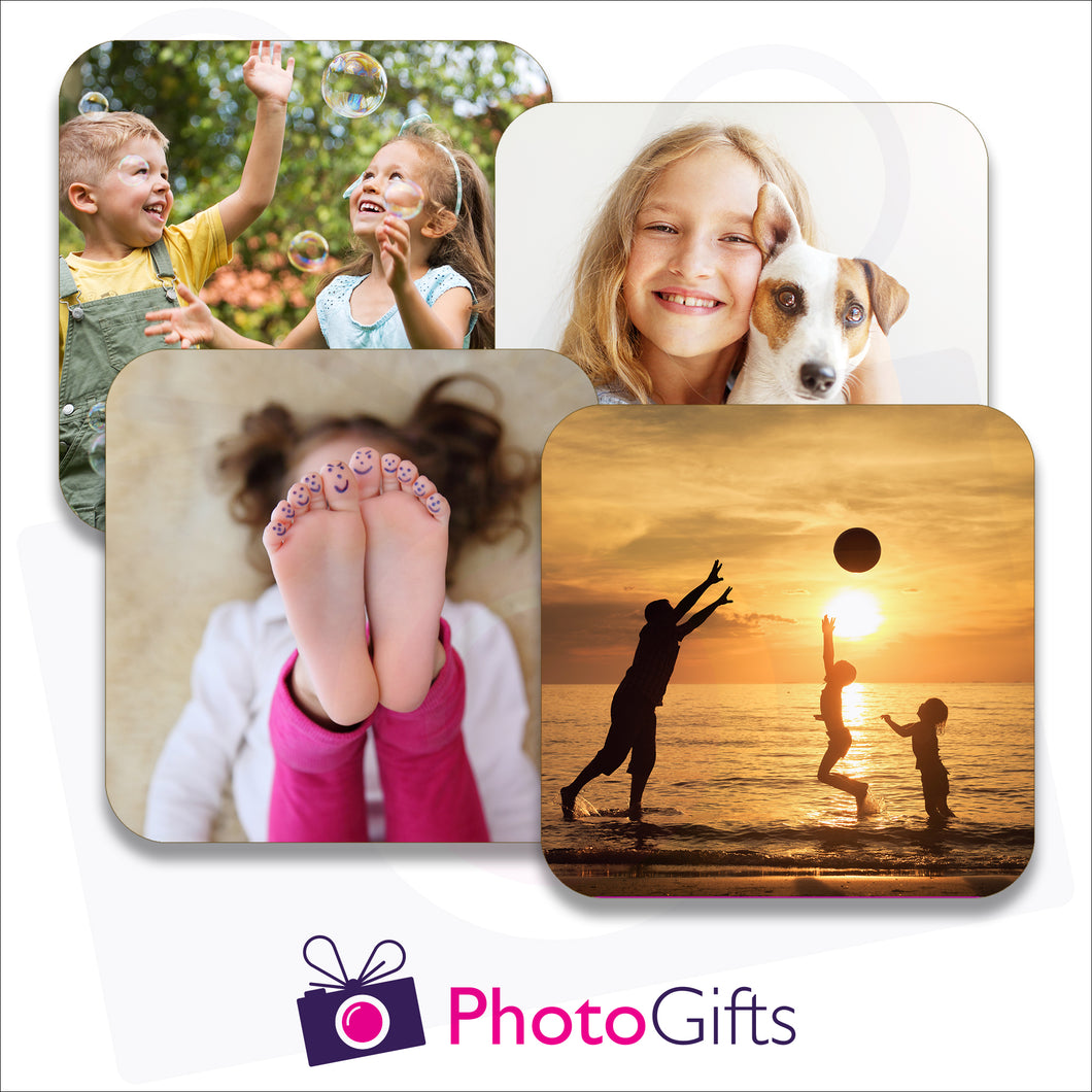 Pack of four individually personalised square rubber coasters as produced by Photogifts.co.uk