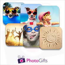 Load image into Gallery viewer, pack of six personalised square rubber coasters as produced by photogifts.co.uk