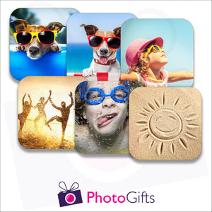 pack of six personalised square rubber coasters as produced by photogifts.co.uk