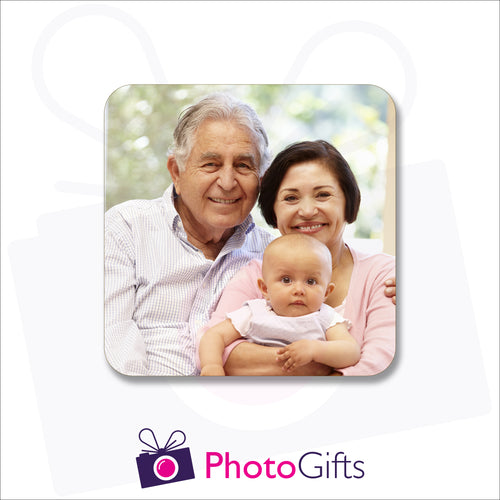 Single square personalised rubber coaster with your own choice of image as produced by Photogifts.co.uk