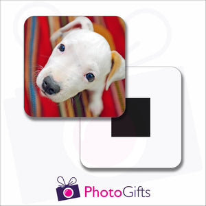 Personalised square fridge magnet with your own choice of image on the magnet as produced by Photogifts.co.uk