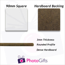 Load image into Gallery viewer, dimensions of square hard board coaster as produced by photogifts.co.uk