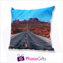 Load image into Gallery viewer, Personalised large square cushion with your own choice of image on the cushion as produced by Photogifts.co.uk