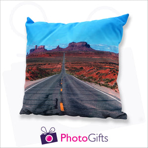 Personalised large square cushion with your own choice of image on the cushion as produced by Photogifts.co.uk