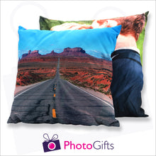 Load image into Gallery viewer, Two personalised large square cushions with your own choice of image on the cushion as produced by Photogifts.co.uk