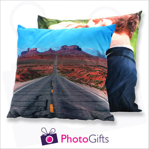 Two personalised large square cushions with your own choice of image on the cushion as produced by Photogifts.co.uk