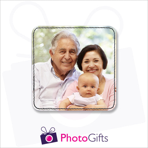 A single personalised square faux leather coaster with your own choice of image as produced by Photogifts.co.uk