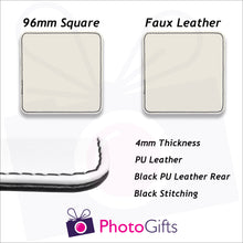 Load image into Gallery viewer, Information on size and material for faux leather coasters as produced by Photogifts.co.uk