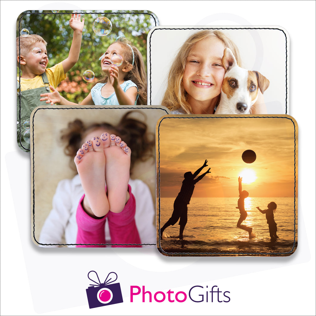 Four individually personalised square faux leather coasters with your own choice of image as produced by Photogifts.co.uk