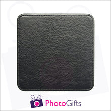 Load image into Gallery viewer, close up photo of the rear of the personalised faux leather square coaster as produced by Photogifts.co.uk