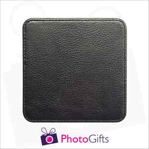 close up photo of the rear of the personalised square faux leather coaster as produced by Photogifts.co.uk