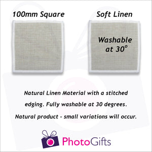 Information on size and material of personalised linen coasters as produced by Photogifts.co.uk