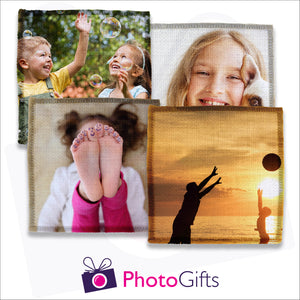 Four individually personalised square linen coasters with your own choice of image as produced by Photogifts.co.uk