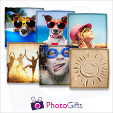 Load image into Gallery viewer, Six individually personalised square linen coasters with your own choice of image as produced by Photogifts.co.uk
