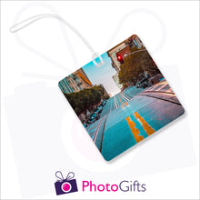 Load image into Gallery viewer, Personalised square luggage tag with your own choice of image as produced by Photogifts.co.uk