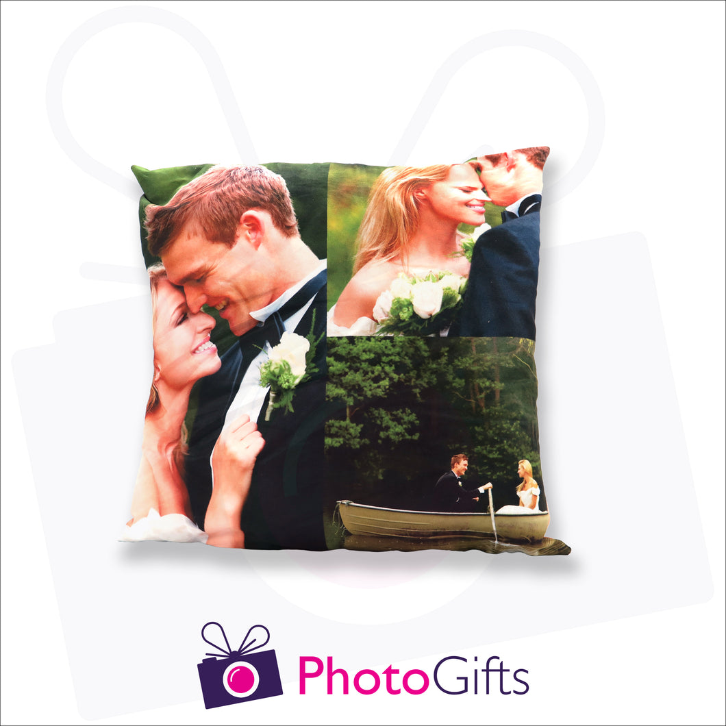 Personalised medium square cushion with your own choice of image on the cushion as produced by Photogifts.co.uk