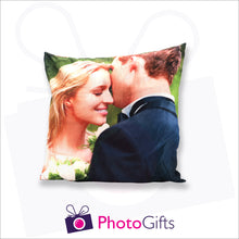 Load image into Gallery viewer, Personalised medium square cushion with your own choice of image on the cushion as produced by Photogifts.co.uk