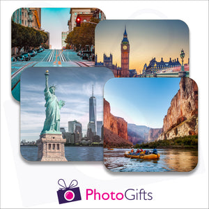 Four individually personalised placemats with your own choice of image as produced by Photogifts.co.uk