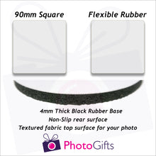 Load image into Gallery viewer, Information on size and material for rubber coasters as produced by Photogifts.co.uk