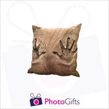 Load image into Gallery viewer, Personalised small square cushion with your own choice of image on the cushion as produced by Photogifts.co.uk