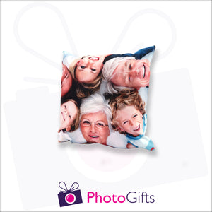 Personalised small square cushion with your own choice of image on the cushion as produced by Photogifts.co.uk