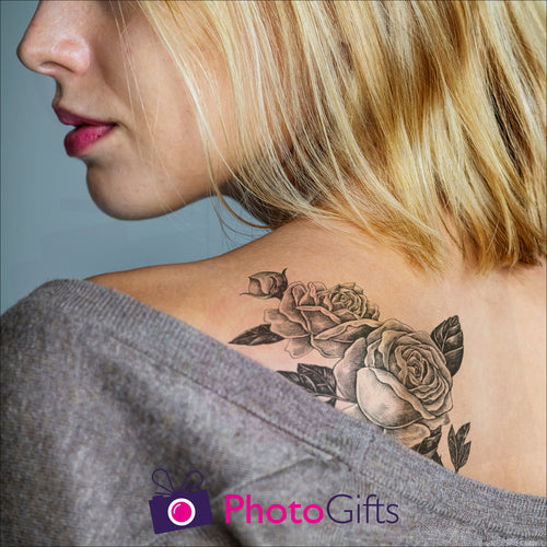 Temporary tattoo as shown on a shoulder as produced by Photogifts.co.uk