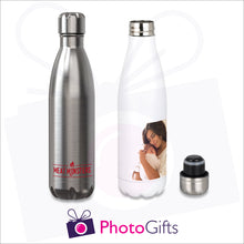 Load image into Gallery viewer, Personalised silver and white thermal bowling pin bottles with your own choice of image as produced by Photogifts.co.uk