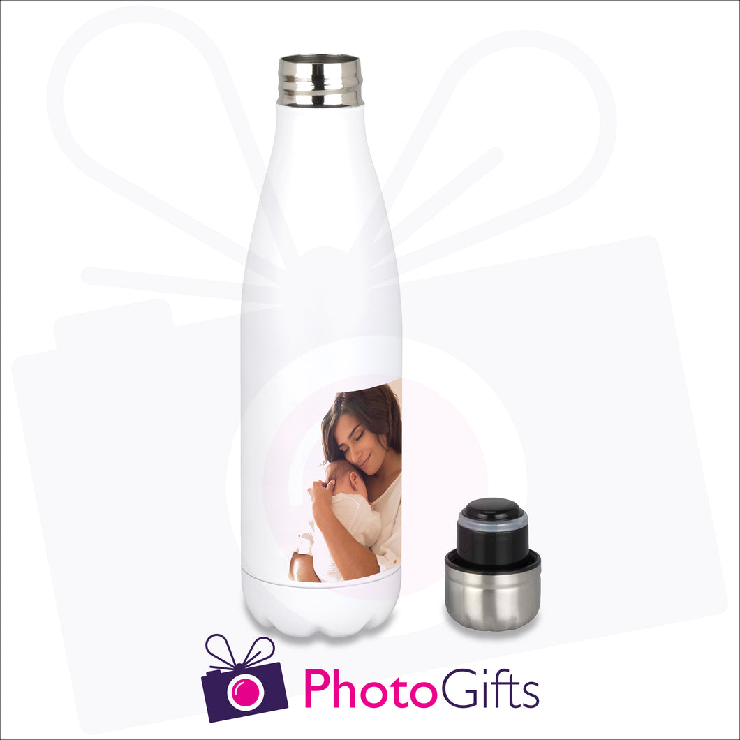 Personalised silver thermal bowling pin bottle with your own choice of image as produced by Photogifts.co.uk