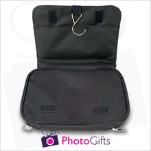Load image into Gallery viewer, Inside detail from black personalised toilet bag showing metal hook for hanging when toilet bag is in use as produced by Photogifts.co.uk