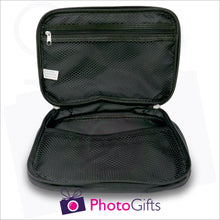 Load image into Gallery viewer, mesh pocket detail of black toilet personalised bag as produced by Photogifts.co.uk