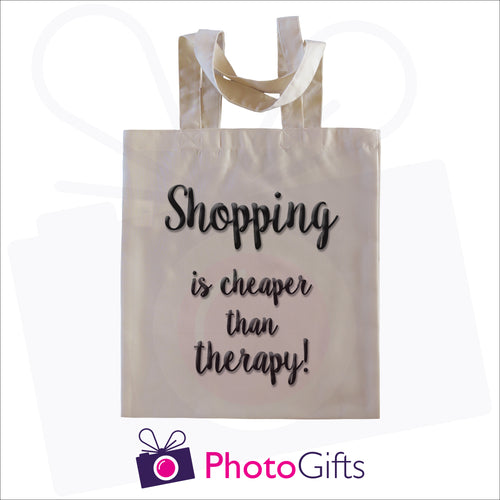 Natural coloured tote shopping bag with the text