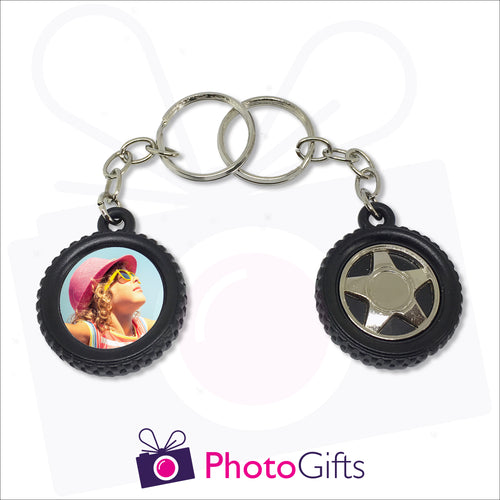 Tyre shaped keyring with tyre design on one side and your own choice of image printed on the other as produced by Photogifts.co.uk