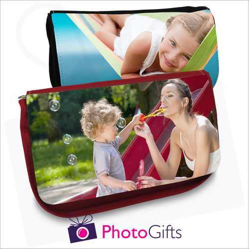 Black and red vanity cases that can be personalised with your own choice of image on the flap as produced by Photogifts.co.uk