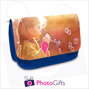 Blue personalised vanity case with your own choice of image on the flap as produced by Photogifts.co.uk