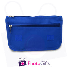 Load image into Gallery viewer, Blue vanity case inside showing the two zipped pockets. Your own choice of image would be on the front flap as produced by Photogifts.co.uk