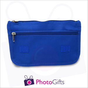 Blue vanity case inside showing the two zipped pockets. Your own choice of image would be on the front flap as produced by Photogifts.co.uk