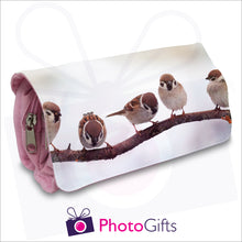 Load image into Gallery viewer, Pink personalised vanity case with your own choice of image on the front flap as produced by Photogifts.co.uk