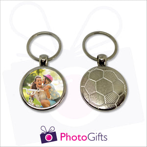 Heavy metal keyring with the impression of a football on one side and your own choice of image on the other side as made by Photogifts.co.uk