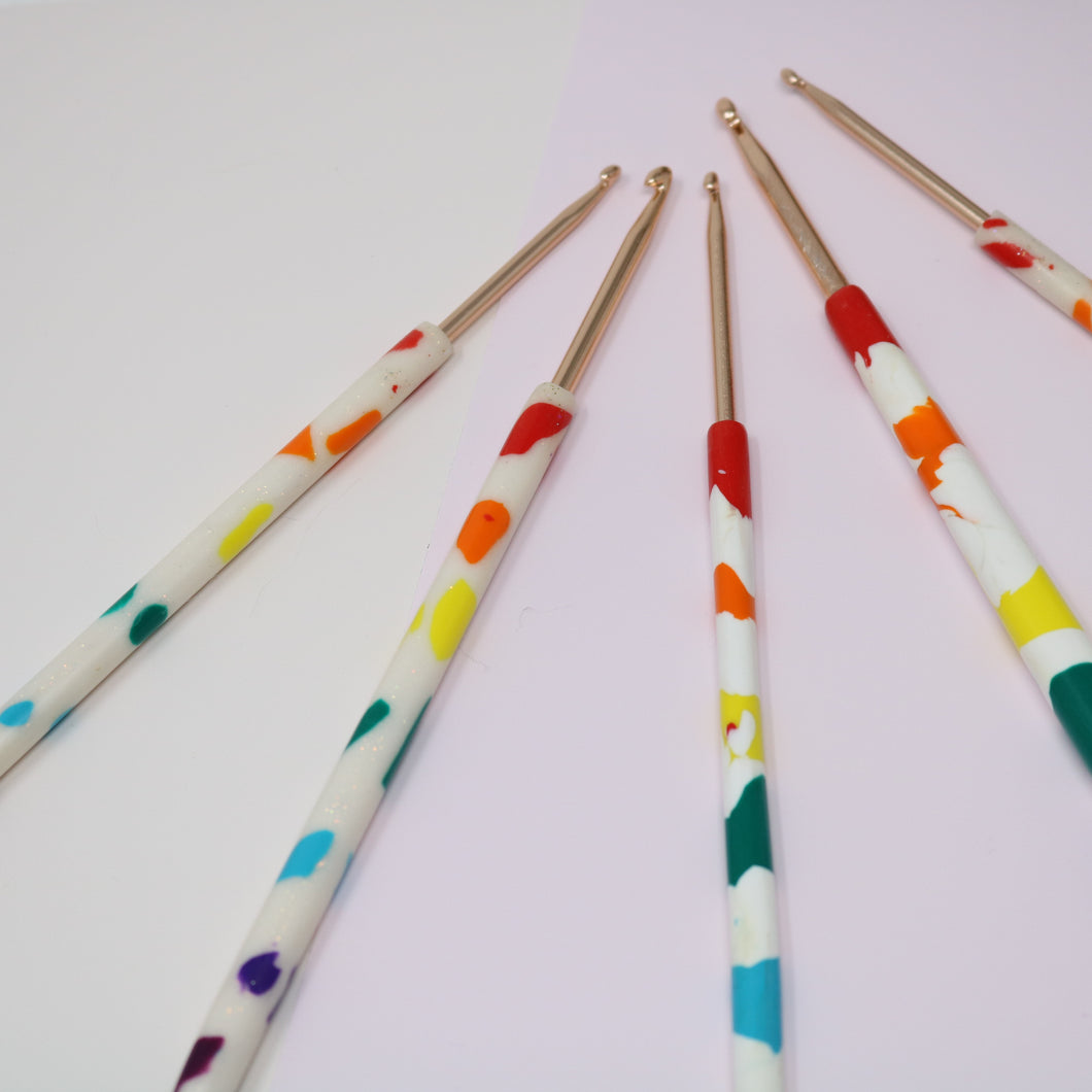 Rainbow: Polymer Clay Crochet Hook (SECOND)